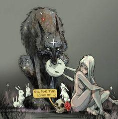 La formule magique : une femme nue + un loup étoilé + des lapins. Comme il est très difficile d'obtenir des informations sur cette artiste mystérieuse. j'ai mené ma petite enquête pour en savoir un peu plus.