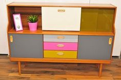 Retro Vintage Sideboard Cabinet Teak Veneer Coloured Glass Drawers like the grey, pink and yellow Retro Furniture Makeover, Mod Furniture, Upcycled Furniture, Furniture Projects, Painted Furniture, Teak Sideboard, Sideboard Cabinet, Retro Dresser, Décor Antique