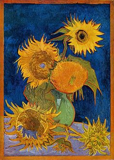 Van Gogh (Dutch, Post Impressionism, 1853-1890), Six Sunflowers (Vase with Five…