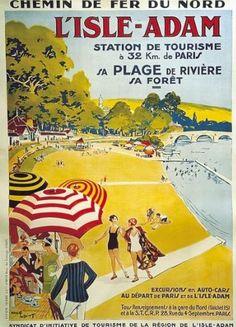 Affiche publicitaire des chemins de fer du Nord, pour le tourisme à L'Isle-Adam.