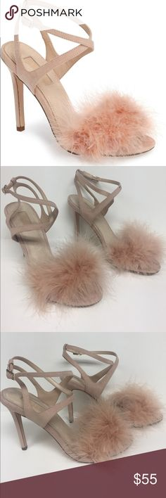 """Topshop Reine pink feathered sandals Soft fluffy feathers respond playfully to every breeze and every step in a strappy feminine sandal. apprx 5 1/2"""" Stiletto heel. Adjustable ankle strap with Buckle closure. Textile and feather upper/ synthetic and leather lining. Worn only a couple times Topshop Shoes Sandals"""