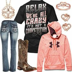 Relax We're All Crazy Under Armour Hoodie Outfit - Real Country Ladies … Country Style Outfits, Southern Outfits, Country Wear, Country Girl Style, Country Fashion, Country Shirts, Country Boots, Country Attire, Camo Outfits