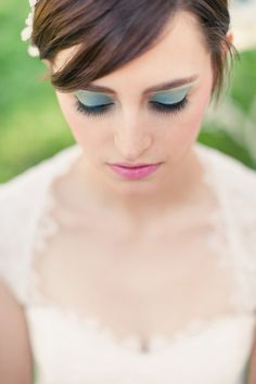 A makeup 'look' for the more adventurous! On Style Me Pretty ~ Texas: http://StyleMePretty.com/texas-weddings/2012/04/12/austin-tea-party-styled-photo-shoot-by-sherry-hammonds-photography / Photography by sherryhammondsphotography.com, Floral Design by unexpectedelements.com