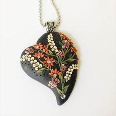 Love in Bloom polymer clay heart shaped black by PiperPixieDesigns, $40.00