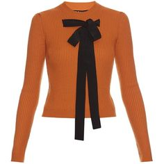 Rochas Bow-front ribbed-knit sweater (135 KWD) ❤ liked on Polyvore featuring tops, sweaters, burnt orange top, bow sweater, ribbed knit sweater, bow top and burnt orange sweater