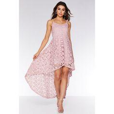 Pink Crochet Dip Hem Skater Dress