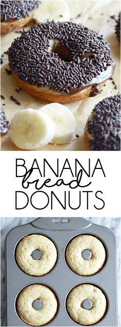 Banana Bread Donuts - Something Swanky Easy Bread Recipes, Baking Recipes, Dessert Recipes, Pudding Recipes, Healthy Recipes, Baking Ideas, Sweet Recipes, Cake Recipes, Baking Snacks