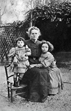 Portrait of Marie Curie, and her two daughters, Eve and Irene, in 1908