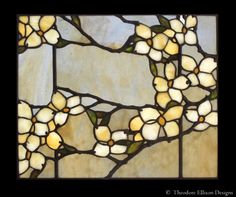 Dogwood leaded glass lay light detail by Theodore Ellison Designs