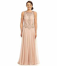 83b2b89765f Jkara Floral Beaded Popover Gown  Dillards