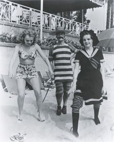 Bathing Beauties: Judy Garland, June Priesser and Buster Keaton at a Costume party in Hollywood, 1941.