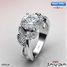 Round Diamond Flower Style Engagement Pave Ring GIA F VS2 14k White Gold 1.3ct.