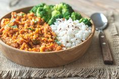 Buy Bowl of red lentil curry with white rice and broccoli by on PhotoDune. Bowl of red lentil curry with white rice and broccoli Best High Fiber Foods, Diabetic Recipes, Vegan Recipes, Vegetarian Protein, Lentil Curry, Food Staples, Cooking Light, Vegan Dishes, Food And Drink