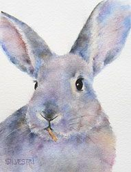"""Willis"", another fabulous rescue bun from East Bay Rabbit Rescue.  Original watercolor sold, but Fine Art Prints and Greeting Cards are available for purchase at my website, www.SilvestriStudios.com."