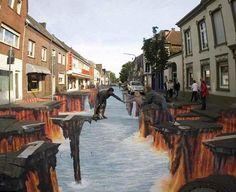 The Crevasse---amazing street art from german artist Edgar Mueller 3d Street Art, 3d Street Painting, Amazing Street Art, Street Art Graffiti, Amazing Art, 3d Painting, Street Artists, Floor Painting, Edgar Mueller