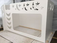 Bunk Bed, Moon And Stars Design With Ladder. Bunk Mid Sleeper. Children s Bed.
