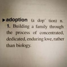 Such a beautiful definition. We'll take it a step further and say that this dedicated, enduring love is present on both sides-- adoptive families as well as birth families. #CHS #AdoptionSC #PregnanSC
