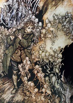 """""""He played until the room was entirely filled with gnomes."""" The Gnomes, from The Grimm's Fairy Tales, illustration by Arthur Rackham Arthur Rackham, O Grimm, Brothers Grimm Fairy Tales, Pop Art, Ecole Art, Fairytale Art, Art Moderne, Art Graphique, Fairy Art"""