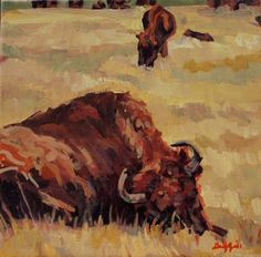 "Daily Painters Abstract Gallery: Colorful Contemporary Animal Art ,Bull Painting ""Browser"" by Contemporary Animal Artist Patricia A. Griffin"