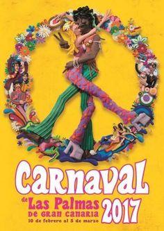 Cartel del Carnaval de Las Palmas 2017. Autor: Josué Quevedo. Tema: Flower Power