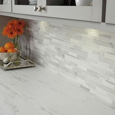 Daltile Stone Decor Glacier 12 in. x 14 in. x 10 mm Marble Linear Mosaic Floor and Wall Tile sq./ - The Home Depot Daltile Stone Decor Glacier 12 in. x 14 in. x 10 mm Marble Linear Mosaic - The Home Depot Gray Kitchen Backsplash, Backsplash For White Cabinets, Mosaic Backsplash, Mosaic Wall, Backsplashes With White Cabinets, Marble Mosaic, Home Depot Backsplash, Kitchen Island Upper Cabinets, Tiles For Kitchen