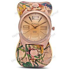 Women Lady New Stamped Retro Flower Printed Wide Leather Band Women Lady Quartz Watch Fashion Wristwatch WWT-360133