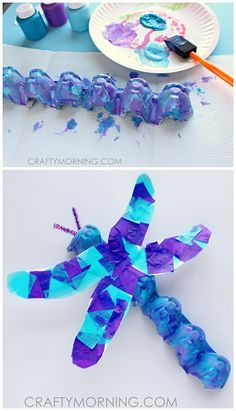 Egg Carton Dragonfly Craft for Kids to Make! Great spring time art project   CraftyMorning.com