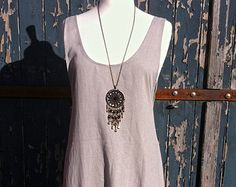 Pinafore Apron Pattern | Long Grey Beige Linen Apron Pinafor e Dress with Low Slung Slouch ...