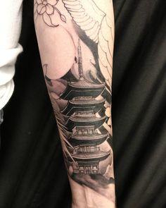Pagoda add on today. #chronicink #asiantattoo #asianink #irezumi #tattoo #pagoda