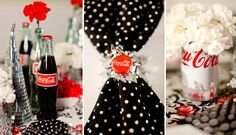 A Modern Coca-Cola Christmas Inspiration - Virginia Wedding Photographer Coca Cola Wedding, Coca Cola Party, Coca Cola Decor, Retro Wedding Theme, 50s Wedding, Polka Dot Wedding, Rockabilly Wedding, Wedding Reception, Wedding Ideas