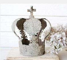 French Country Farmhouse Embossed Metal Tin Crown~Santos Crown~Small #Unbranded
