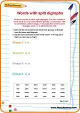 Help your child understand split digraphs (the magic 'e' rule) by having them group similar split digraphs into the correct categories on this worksheet.