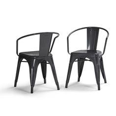 Larkin Metal Dining Arm Chair - Grey - Simpli Home