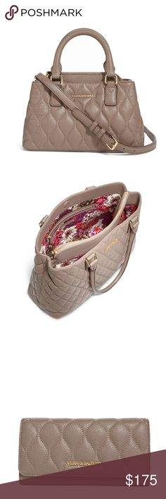 NWT Vera Bradley Quilted Leather Emma/Wallet NWT Vera Bradley Quilted Emma Mini Crossbody in Taupe  can be carried as a handbag or a shoulder bag. A center zip-closure compartment keeps your necessities securely contained. Two side compartments offer quick access to phone and keys thanks to their magnetic closures. Accented with gold-toned hardware.   NWT Quilted Audrey Wallet in Taupe   Inside this pin snap closure wallet there are two compartments that contain 12 credit card slips, two…