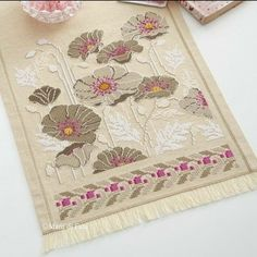 Fabulous table Runner, love this look. Cross Stitch Pillow, Mini Cross Stitch, Cross Stitch Rose, Cross Stitch Flowers, Blackwork Embroidery, Wool Embroidery, Cross Stitch Embroidery, Embroidery Patterns, Cross Stitch Designs