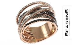 Playful ring 750/  Red gold with diamonds