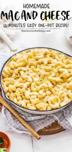 A quick and easy One-Pot Homemade Mac and Cheese recipe that only takes 15 minutes to make! This homemade dish is full of flavor extra creamy and made with two types of cheese. Plus it uses just a few simple ingredients. Save this comfort food for dinner! Best Mac And Cheese Recipe Easy, Homemade Mac And Cheese Recipe Easy, Quick Mac And Cheese, Best Pasta Recipes, Cheese Recipes, Lunch Recipes, Easy Dinner Recipes, Crockpot Recipes, Easy Meals