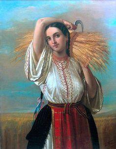 Gheorghe Tattarescu, Peasant woman from Vlasca Henri Matisse, Renoir, Folk Costume, Costumes, Romanian Women, Ukrainian Art, Krishna Painting, Biblical Art, Folk Embroidery