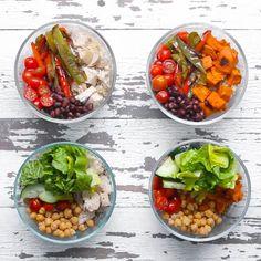 Repas à préparer pour la semaine : patates douce, haricots noirs, poivron, poulet