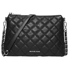 Buy MICHAEL Michael Kors Zoe Medium Leather Top Zip Messenger Bag, Black Online at johnlewis.com