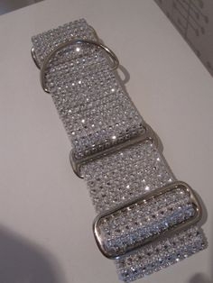 """Taylor's Wedding Bling.  2"""" White Bling, Faux Rhinestone with Quick Release or Martingale Style Dog Collar"""
