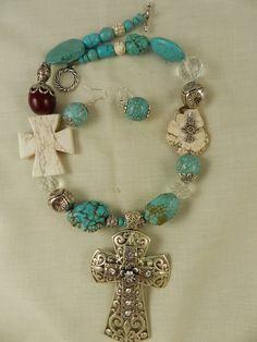 Chunky Handmade Turquoise  Crystal Cross by DesignsofFaithandJoy, $35.00