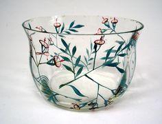 Wiener Werkstatte enameled glass bowl, ca. 1915