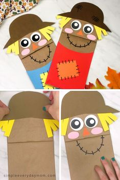 Scarecrow Puppet Craft For Kids This brown paper bag scarecrow craft for kids is the perfect fall activity for preschool, prek and kindergarten. It comes with a free printable template and works great in the classroom or at home. Fall Arts And Crafts, Easy Fall Crafts, Fall Crafts For Kids, Craft Kids, Kids Diy, Fall Crafts For Preschoolers, Fall Toddler Crafts, Children Crafts, Diy Crafts