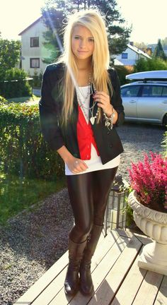Blonde in leather leggings and riding boots outfit