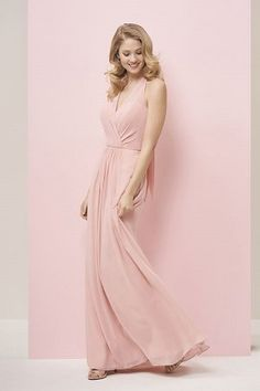 439993799839 P196051 Long V-neck Halter Georgette Bridesmaid Dress