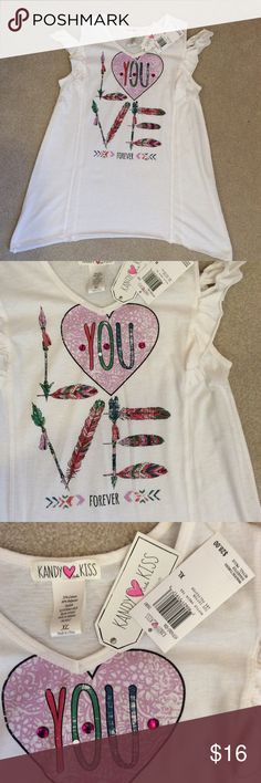 """Cold shoulder """"love"""" top Cute cold shoulder girls top, NWT   Check out my listings and save with bundles 👍 Item 3C Candy Kiss Shirts & Tops Tees - Long Sleeve"""