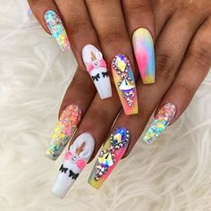 Nail art Christmas - the festive spirit on the nails. Over 70 creative ideas and tutorials - My Nails Acrylic Nail Designs, Acrylic Nails, Gel Nails, Coffin Nails, Perfect Nails, Gorgeous Nails, Winter Nails, Summer Nails, Unicorn Nails Designs