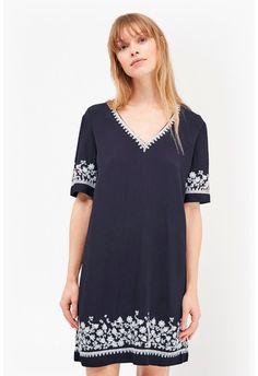 Jasmine Drape Embroidered Tunic Dress