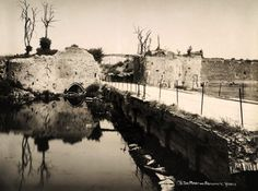 Moats and the ramparts at Ypres Belgium soon after WWI, circa March 1919.